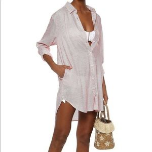Onia Marie Striped cover-up shirtdress long sleeve
